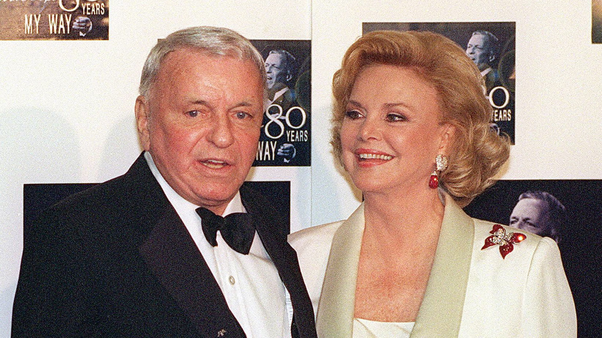 Barbara Sinatra in a photo with her husband Frank Sinatra after a star studded event to honor his 80th birthday at the Shrine Auditorium. (Credit: DAN GROSHONG/AFP/Getty Images)