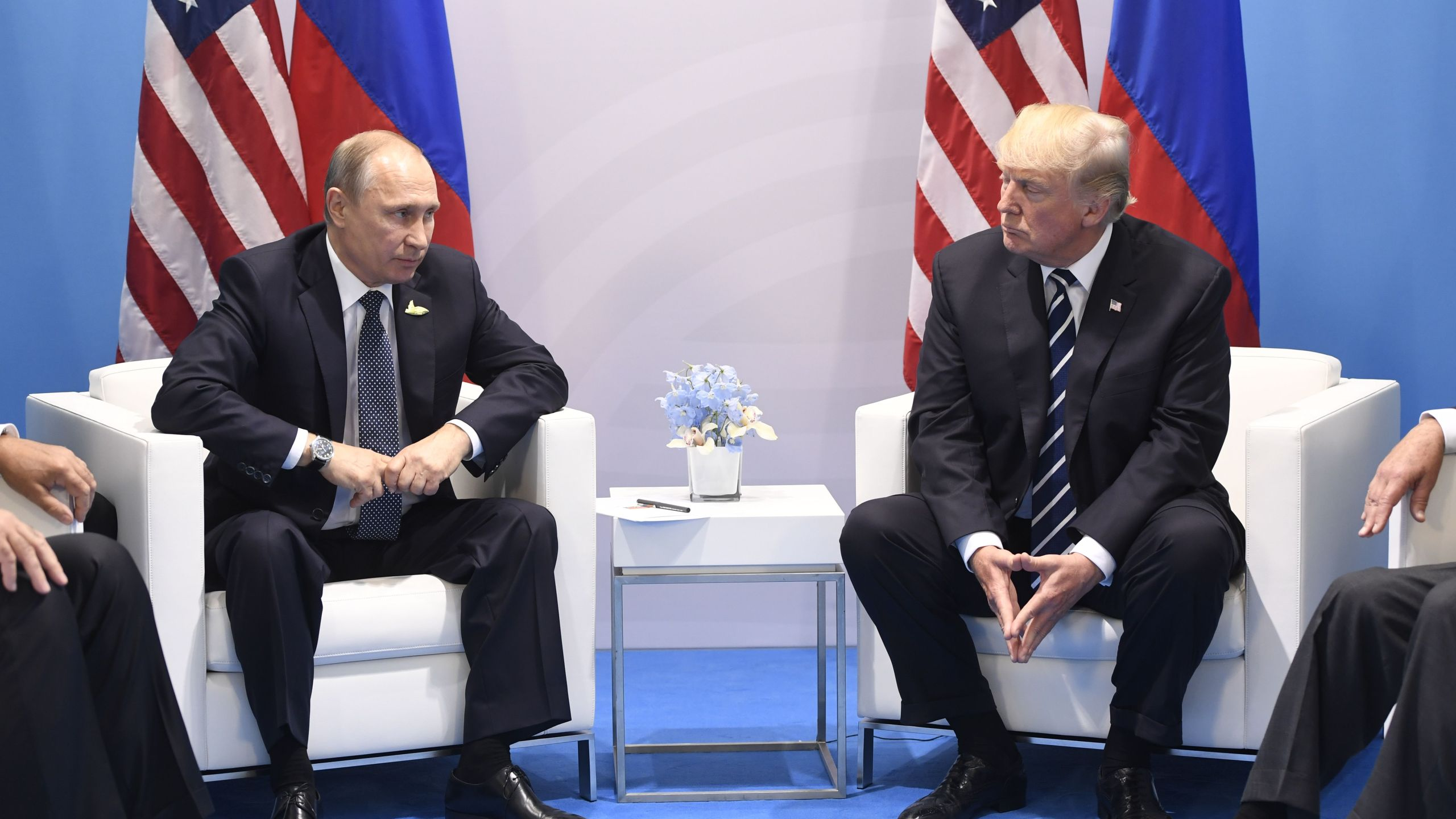 President Donald Trump and Russia's President Vladimir Putin hold a meeting on the sidelines of the G20 Summit in Hamburg, Germany, on July 7, 2017. (Credit: SAUL LOEB/AFP/Getty Images)