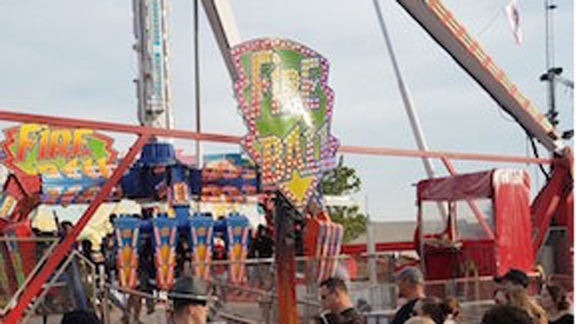 """""""Fire Ball"""" is the ride that broke apart and left one person dead at the Ohio State Fair on July 26, 2017. (Credit: Justin Eckard via Twitter)"""