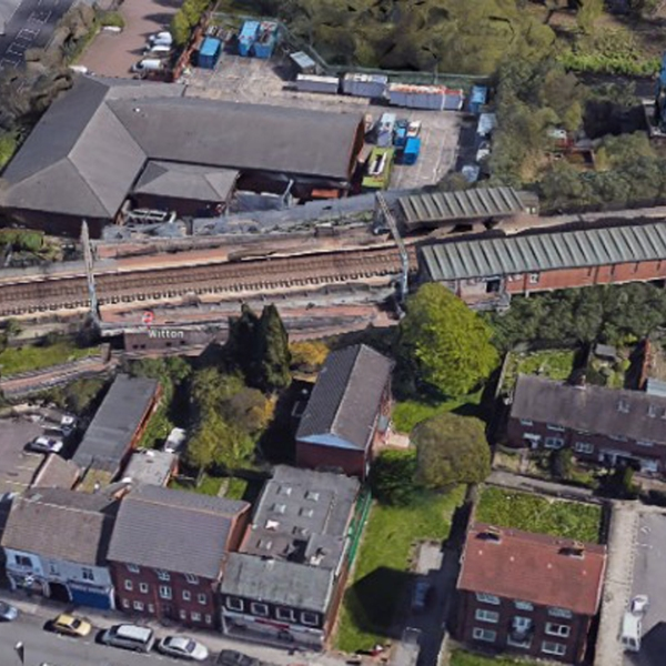 Witton Station in Birmingham, England, is seen in a Google Earth image.