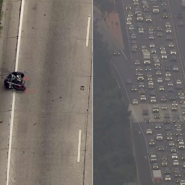 A motorcyclist was killed in a crash on the 134 Freeway in Toluca Lake on Aug. 14, 2017. (Credit: KTLA)