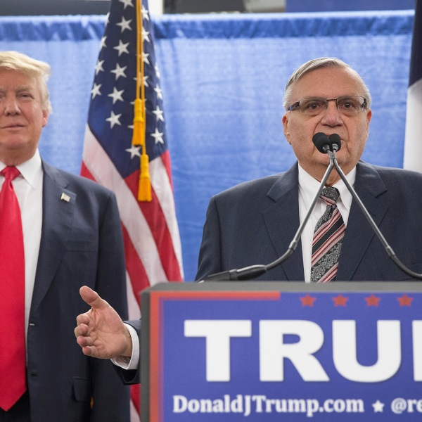 Sheriff Joe Arpaio of Maricopa County, Arizona, endorses Republican presidential candidate Donald Trump prior to a rally on Jan. 26, 2016 in Marshalltown, Iowa. (Credit: Scott Olson/Getty Images)