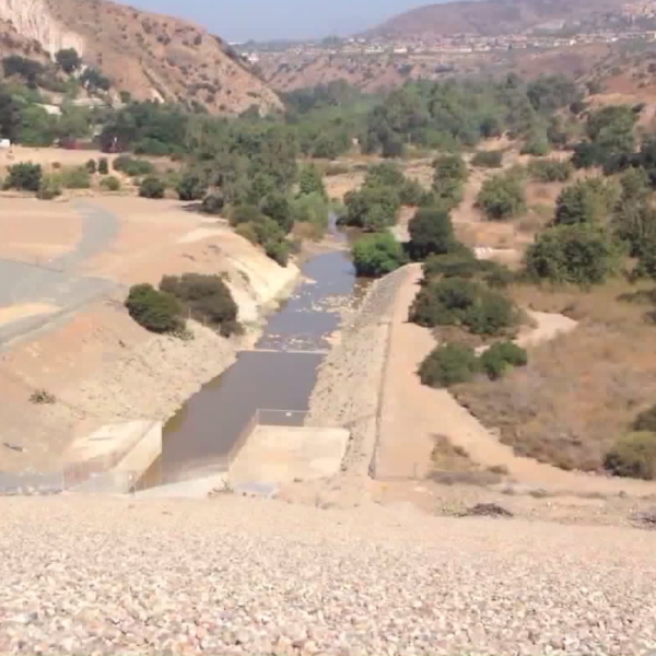 Villa Park Dam in shown in a photo provided by Orange County Public Works officials on Aug. 9, 2017.