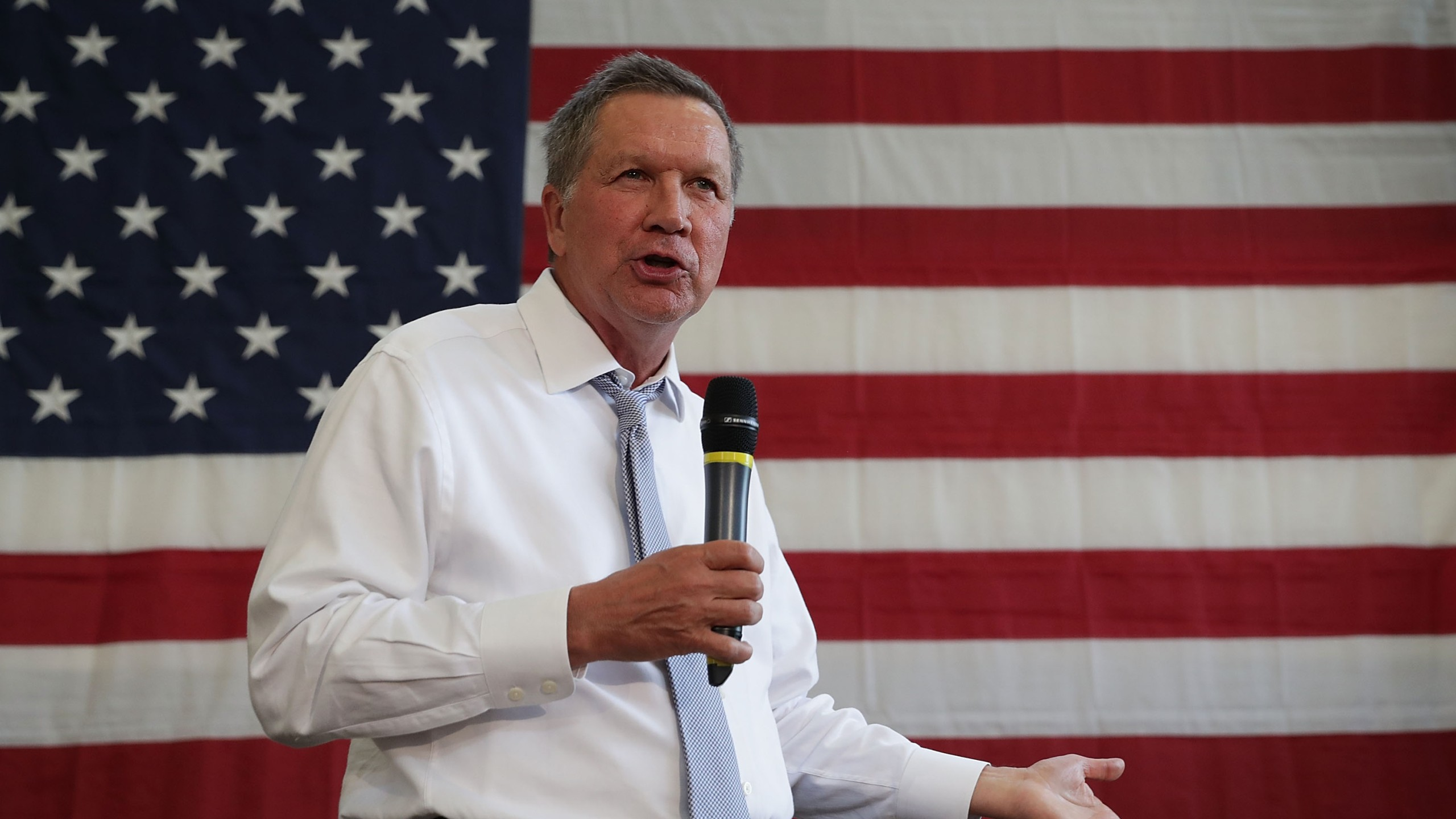 Ohio Governor John Kasich speaks during a campaign event April 25, 2016. in Rockville, Maryland. (Credit: Alex Wong/Getty Images)