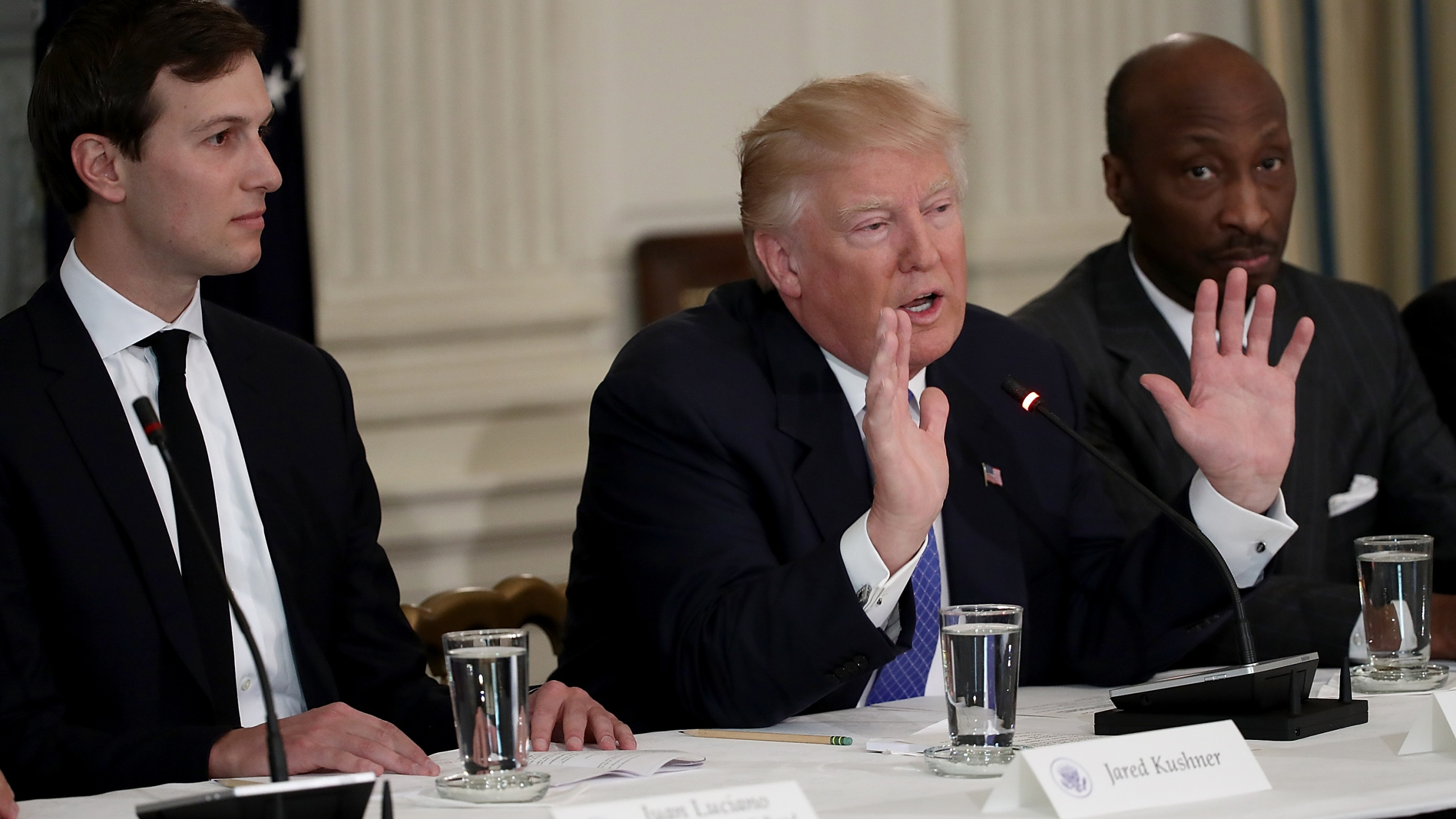 President Donald Trump speaks during the opening of a listening session with manufacturing CEOs at the White House Feb.y 23, 2017. Also pictured are Kenneth Frazier, right, CEO of Merck & Co. and Jared Kushner, left, senior advisor to the president. (Credit: Win McNamee/Getty Images)