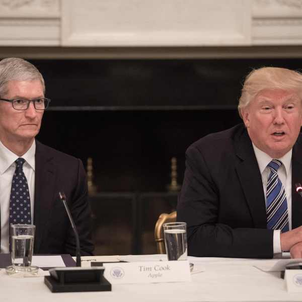 US President Donald Trump speaks next to Apple CEO Tim Cook during an American Technology Council roundtable at the White House in Washington, DC, on June 19, 2017. (Credit: NICHOLAS KAMM/AFP/Getty Images)