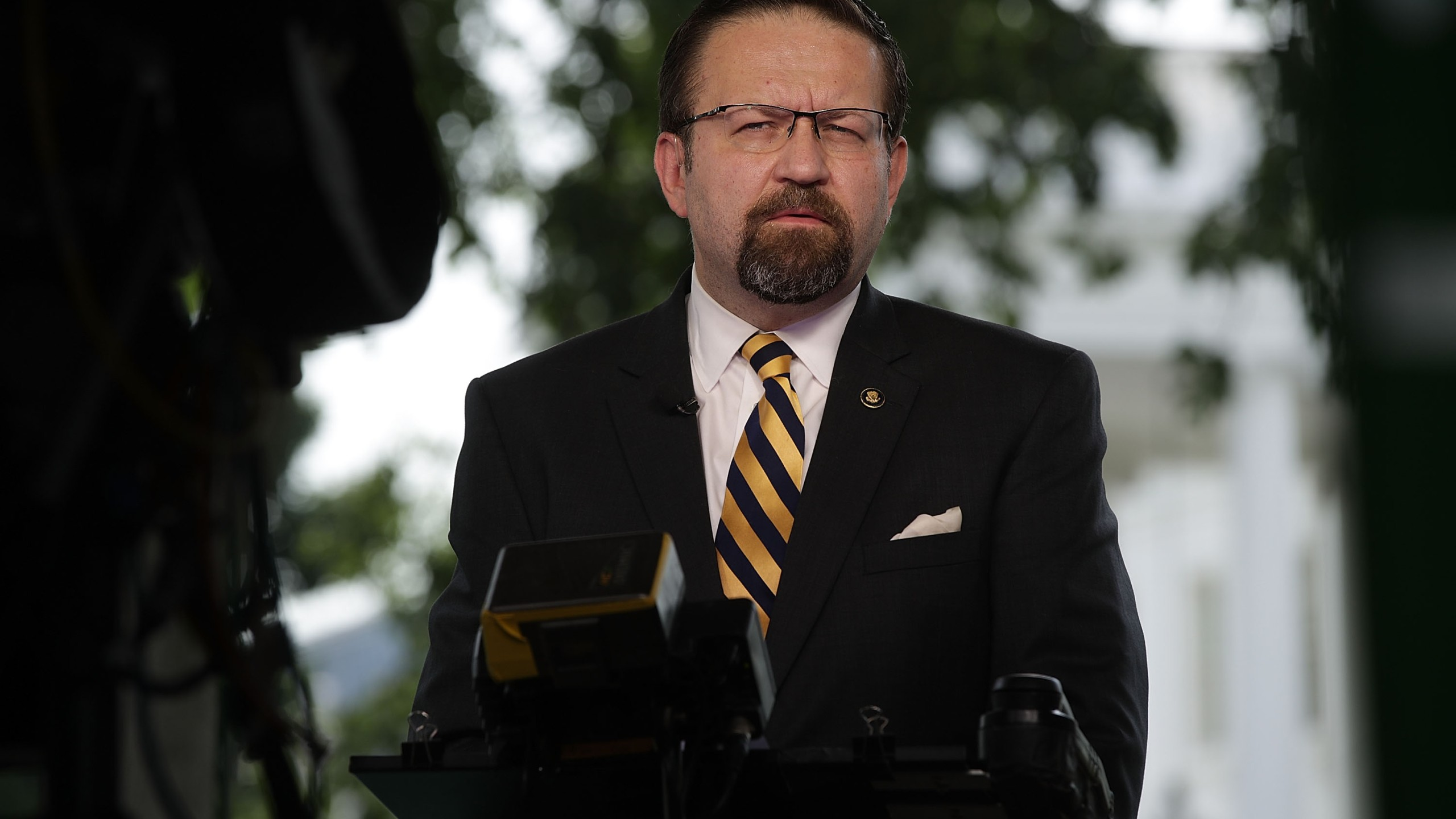 White House Deputy Assistant To The President Sebastian Gorka speaks as he is interviewed by Fox News remotely from the White House June 22, 2017, in Washington, DC. (Credit: Alex Wong / Getty Images)