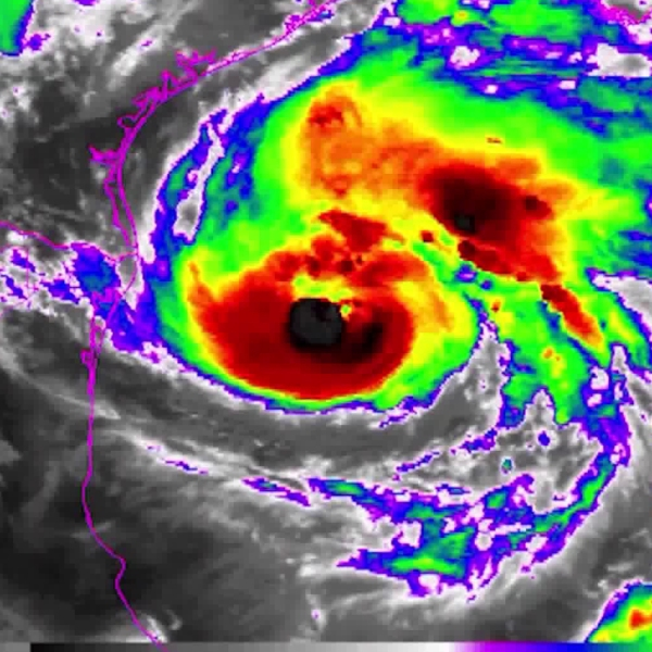 Category 2 Hurricane Harvey is seen spinning off the coast of Texas on Aug. 25, 2017. (Credit: NOAA)