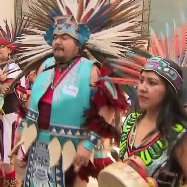 Supporters of Indigenous Peoples Day gather at L.A. City Hall on Aug. 30, 2017. (Credit: KTLA)