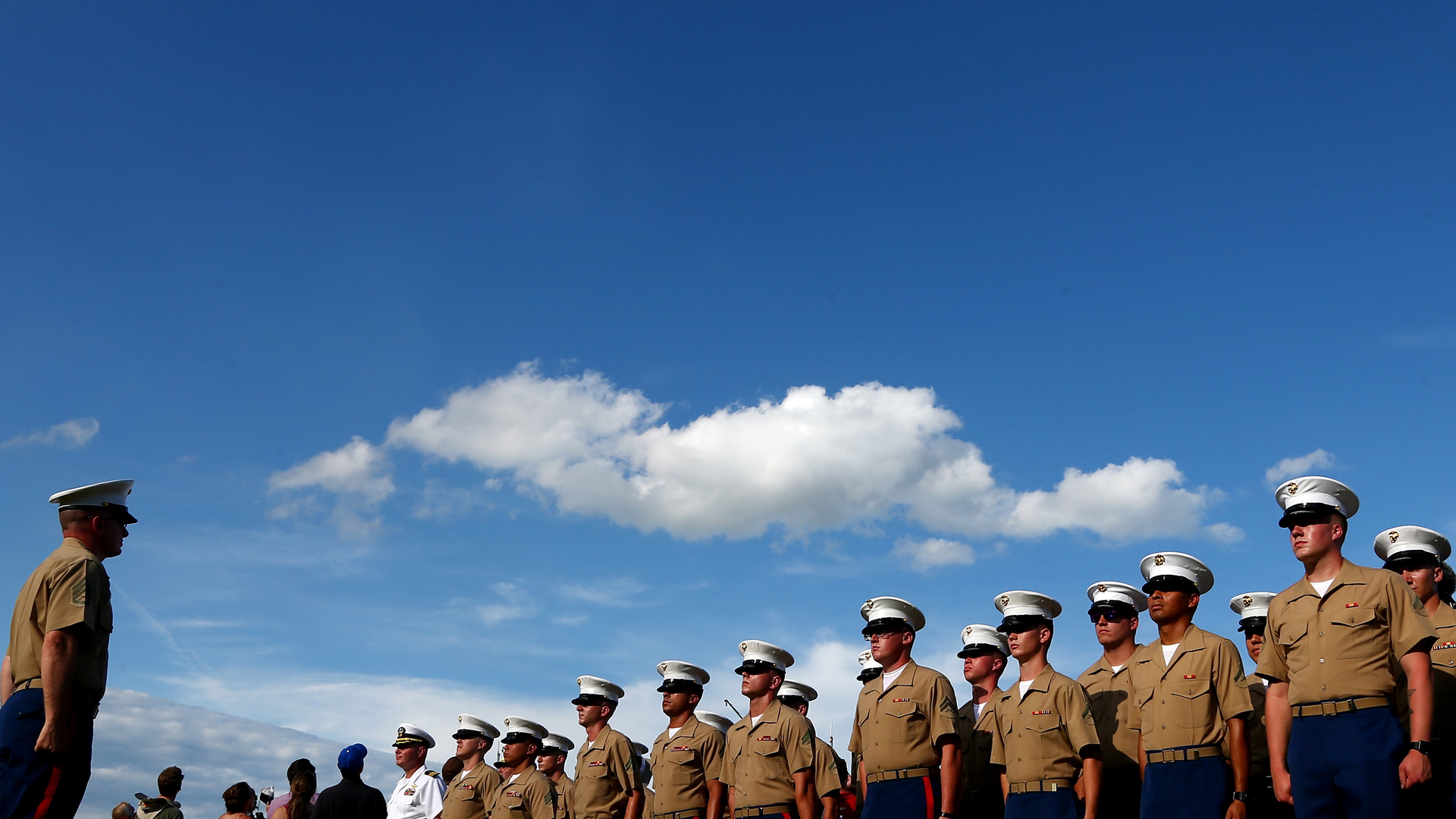 Members of the U.S. Marine Corp stand at attention on May 28, 2017 in Charlotte, North Carolina. (Credit: Sarah Crabill/Getty Images)