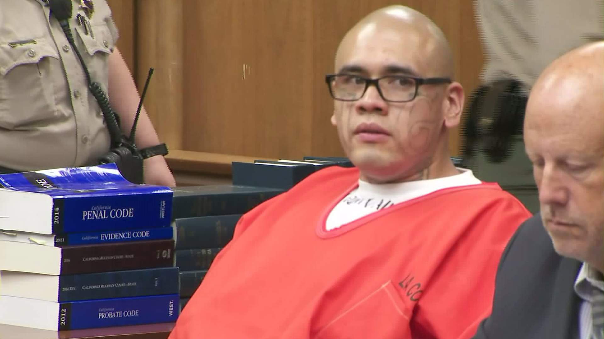Michael C. Mejia appears at his arraignment in Norwalk on Aug. 14, 2017. (Credit: KTLA)