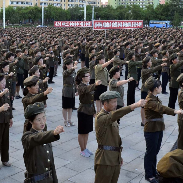 North Koreans protest the UN's sanctions against the country on August 11, 2017 (Credit: STR/AFP/Getty Images)