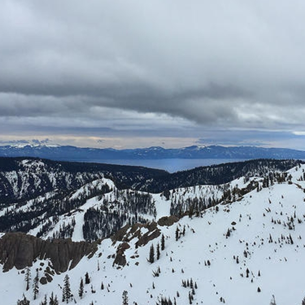 Lake Tahoe is seen from the top of the tram at the Squaw Valley ski area. (Credit: Brian van der Brug / Los Angeles Times)