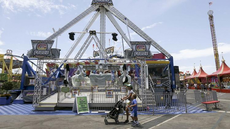 The G Force ride at the Orange County Fair was shut down after the Ohio accident involving a similar ride. (Credit: Irfan Khan/Los Angeles Times)