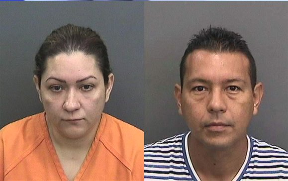 Claudia Orozco (L) and Marlon Barcelo are seen in images provided by the Hillsborough County Sheriff's Office.