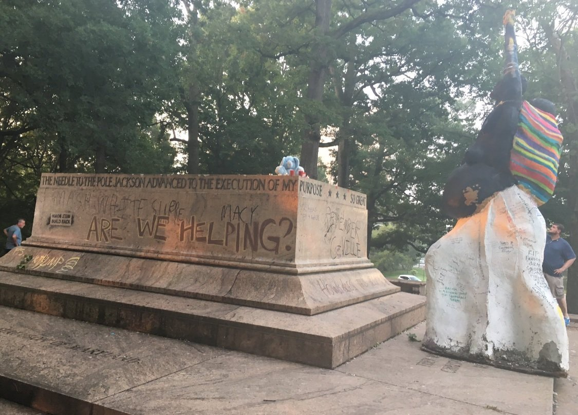 This is all that remains of the Lee-Jackson Monument at Wyman Park. Four Confederate monuments were removed in Baltimore, MD. (Credit: WMAR)