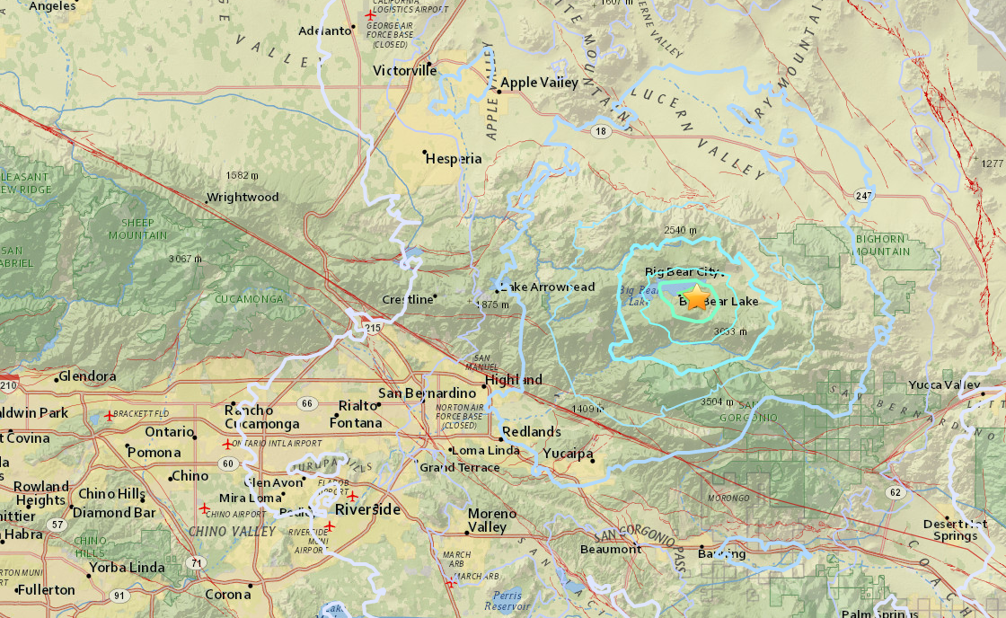 A USGS map shows the location of an earthquake in Big Bear Lake on Aug. 9, 2017.