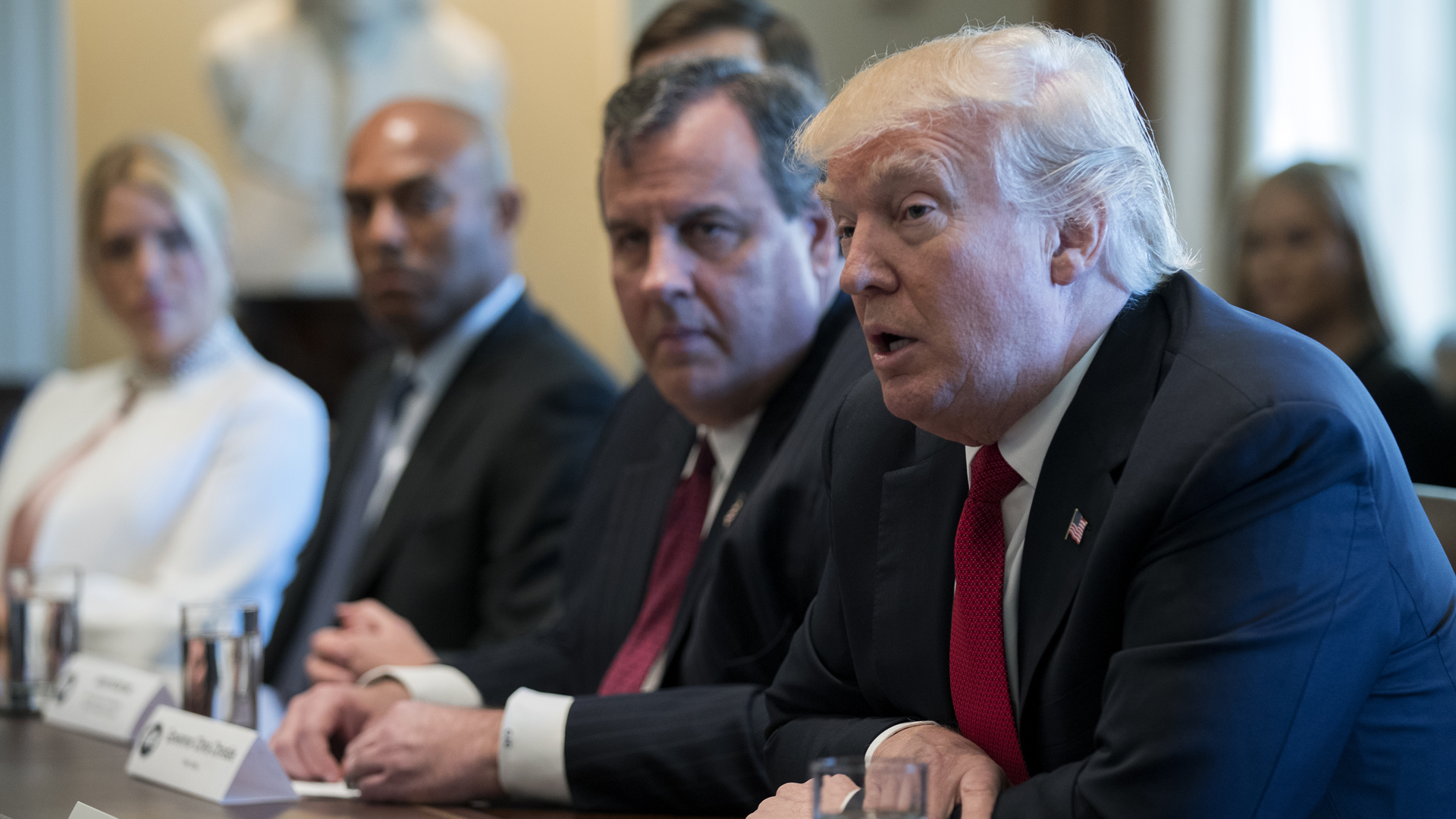 President Donald Trump speaks at a panel on opioid and drug abuse on March 29 in Washington D.C. alongside New Jersey Gov. Chris Christie, who Trump named chair of the the Commission on Combatting Drug Addiction and the Opioid Crisis. (Credit: Shawn Thew/Pool/Getty Images)