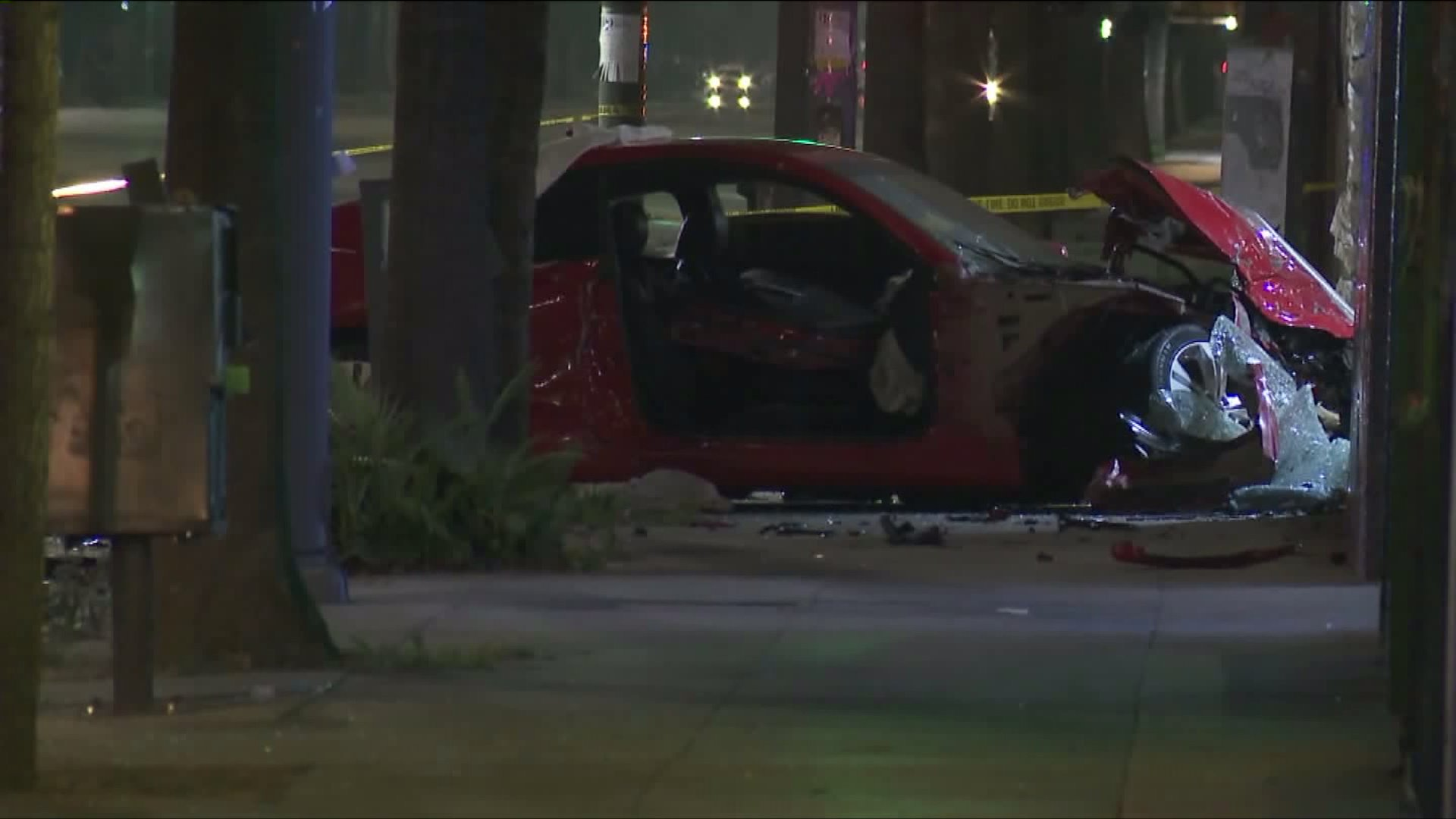 A Hyundai is shown at the scene of a crash in Van Nuys on August 6, 2017. (Credit: KTLA)
