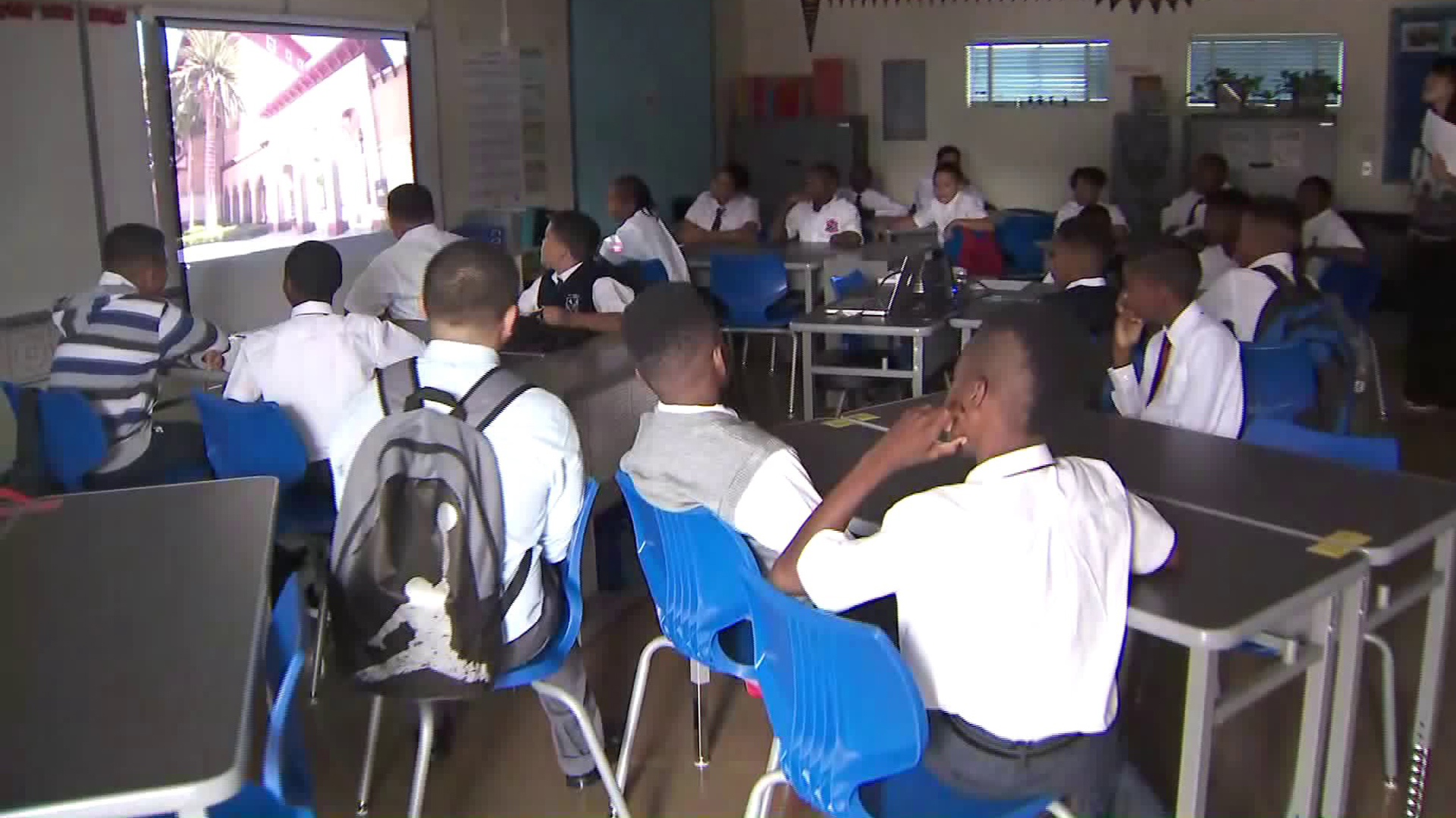 Students arrived for the first day of instruction at the Boys Academic Leadership Academy in South Los Angeles on Aug. 15, 2017. (Credit: KTLA)