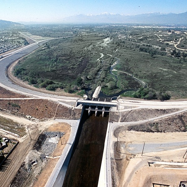 The Whittier Narrows Dam is shown in an undated photo from the Los Angeles District of the U.S. Army Corps of Engineers.