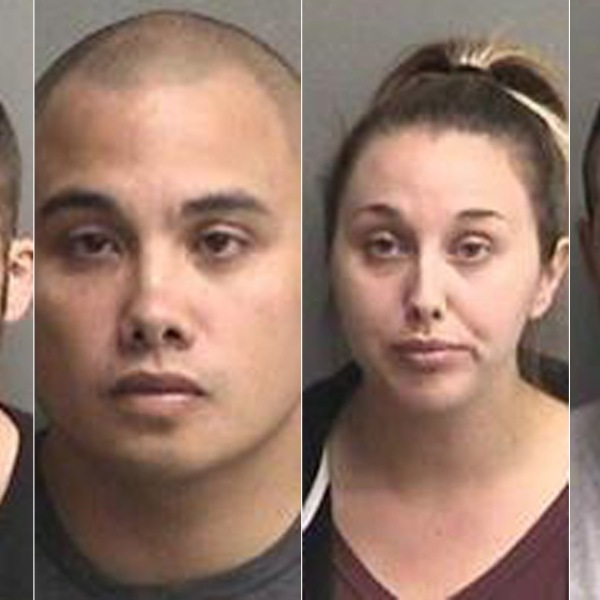 From left: Erik McDermott, 27; Stephen Sarcos, 30; Sarah Krause, 26; and Justin Linn, 23. (Credit: Alameda County Sheriff's Office)