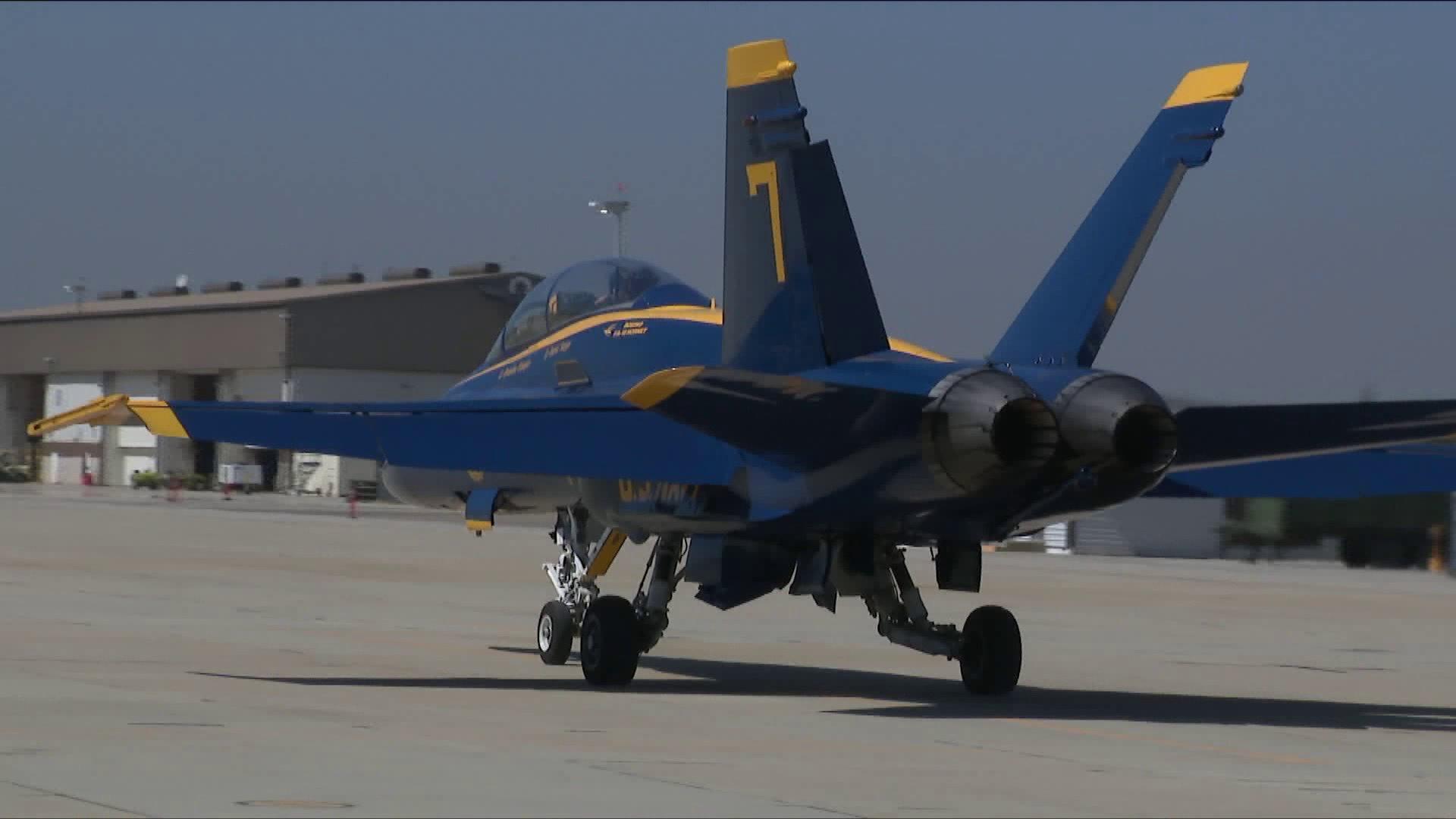 A Blue Angels F-18 fighter is shown at Los Alamitos training base on Sept. 27, 2017. (Credit: KTLA)