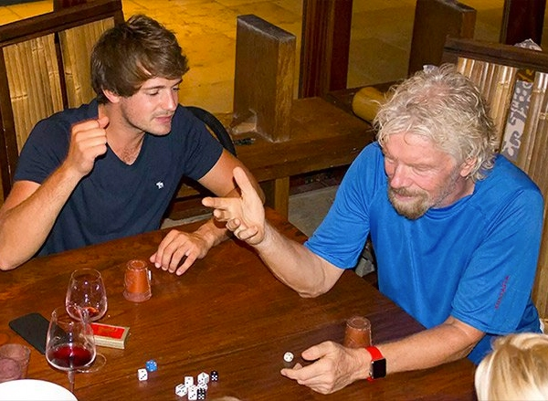 Richard Branson plays a game with others the night before Hurricane Irma. (Credit: Virgin.com)