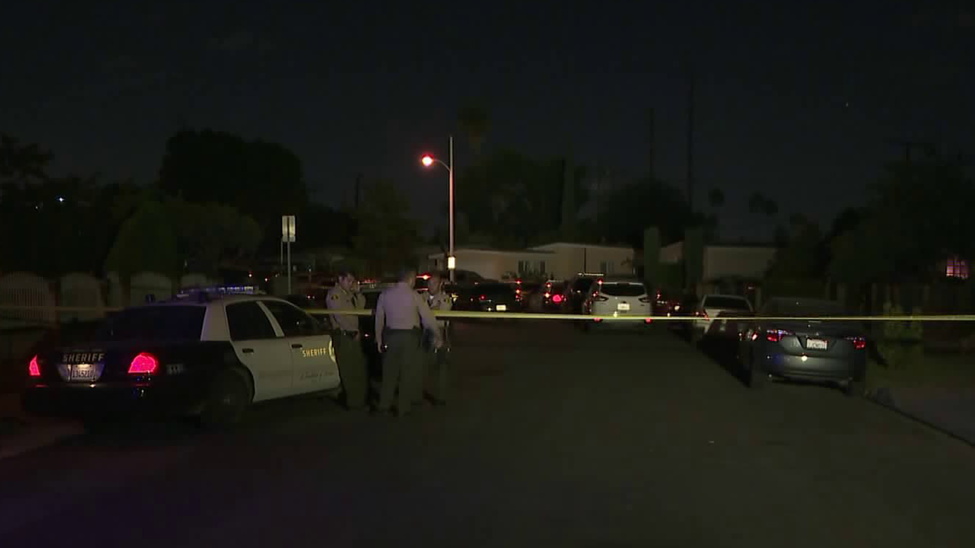 L.A. County Sheriff's deputies at the scene of a fatal deputy-involved shooting Monday night. (Credit: KTLA)