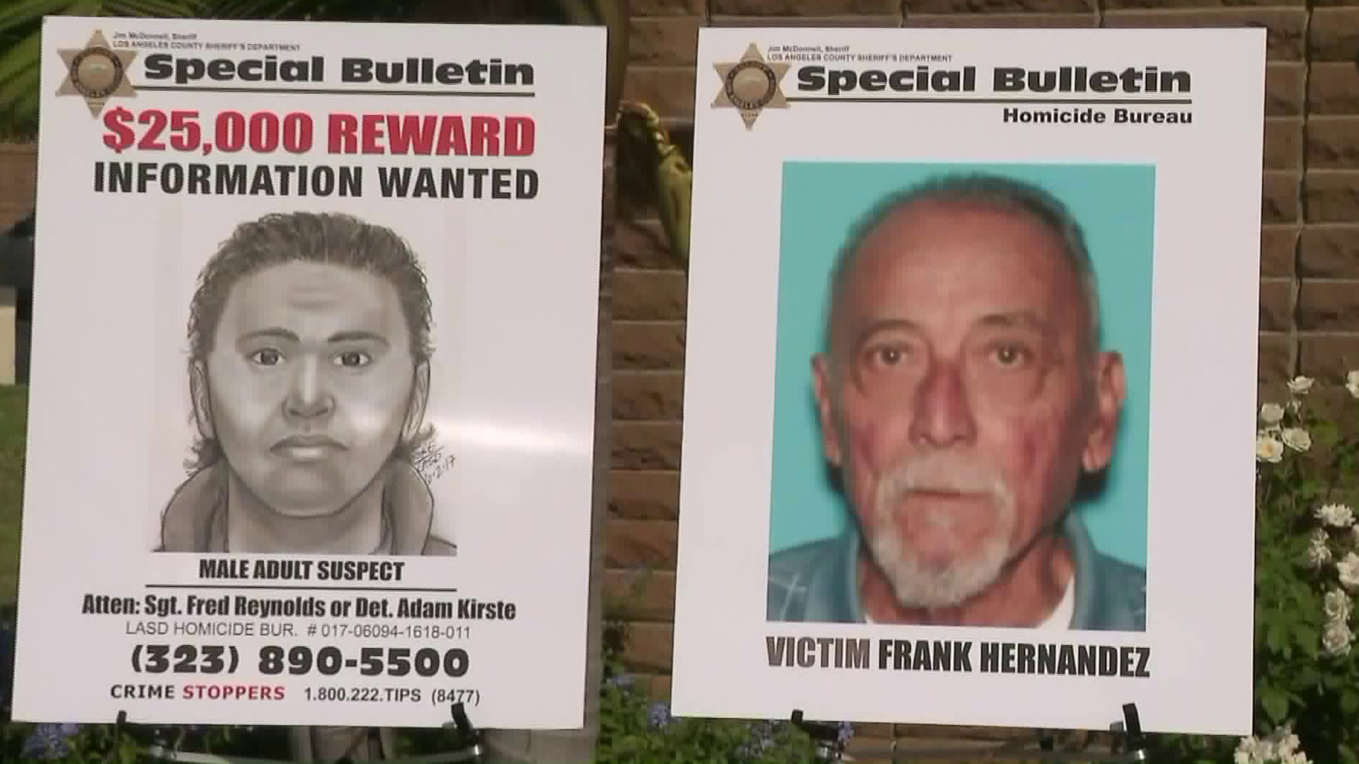 Authorities showed a sketch of the suspect and photo of the victim at a news conference announcing a $25,000 reward in the case on Sept. 13, 2017. (Credit: KTLA)