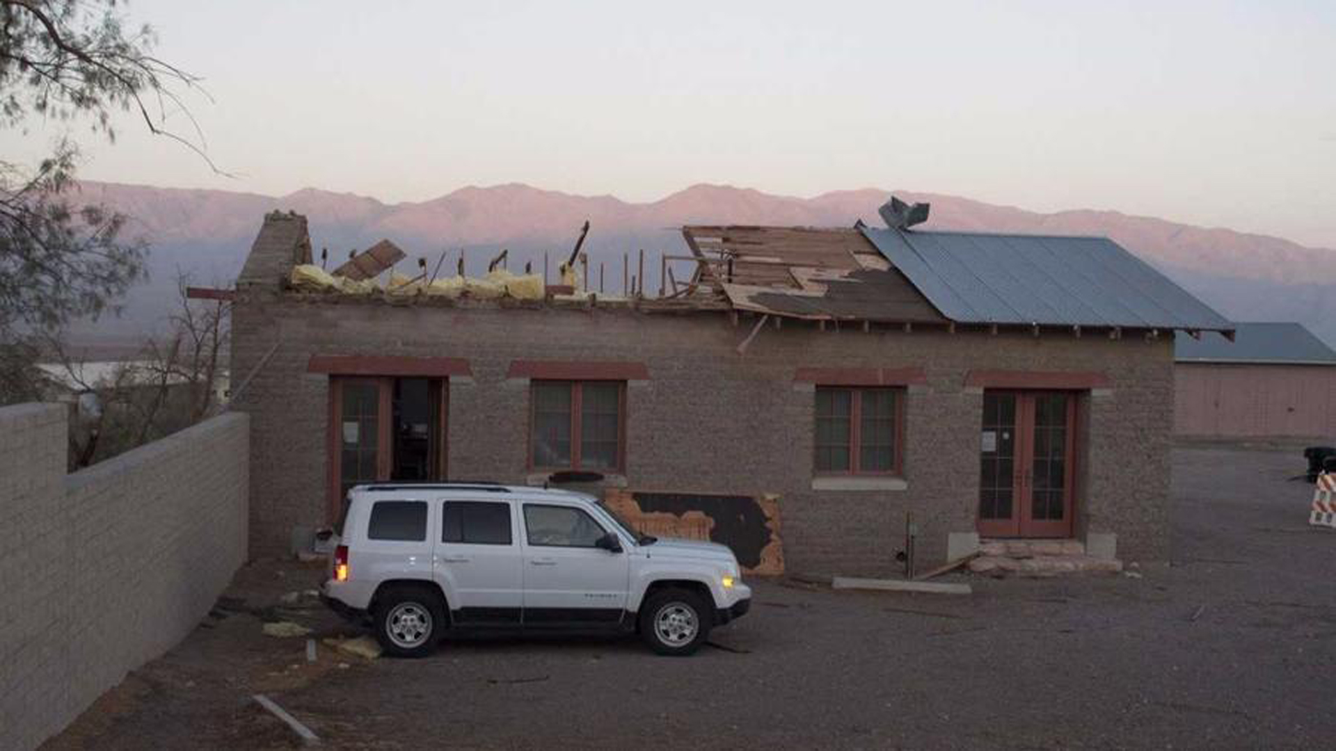 A powerful microburst swept through Death Valley National Park, sent the roof of a historic building flying. (Credit: Alexandria Boyer / National Park Service)