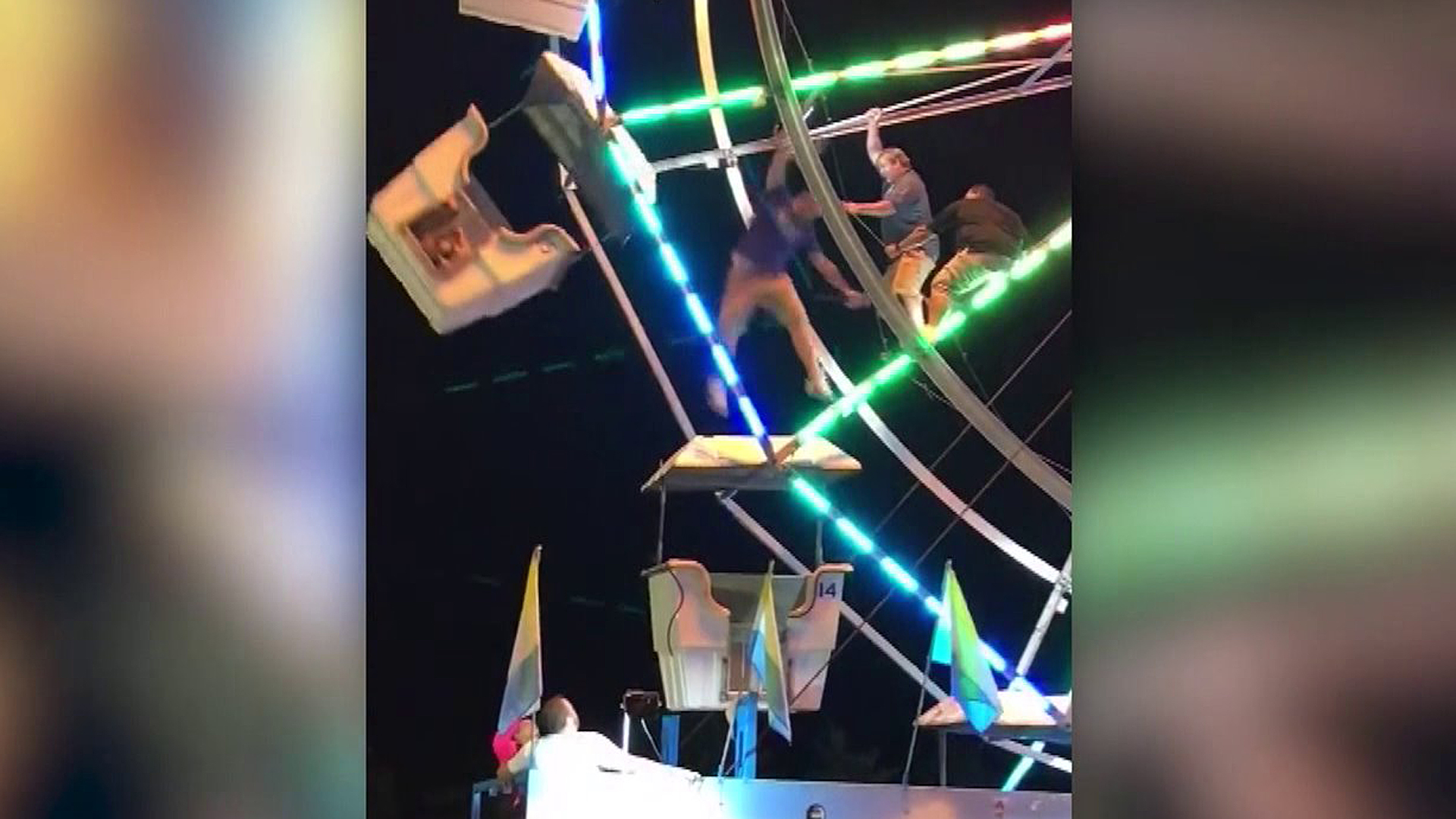 A worker was injured in a fall at a fair in North Carolina on Sept. 15m 2017. (Credit: Crystal Lowe/Facebook via CNN Wire)