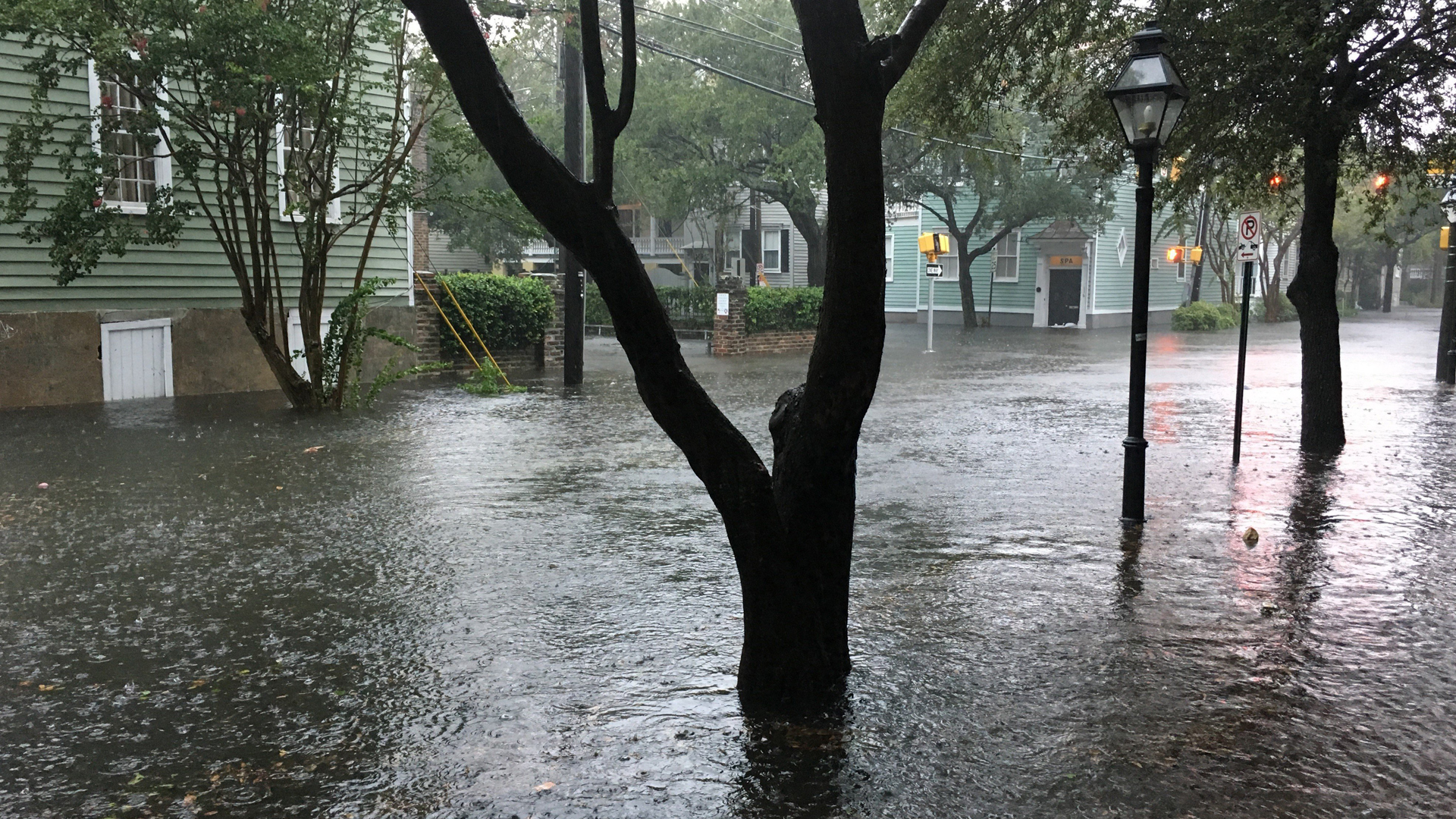 Irma has caused streets to flood in downtown Charleston, South Carolina. (Credit: Elly Craver via CNN)