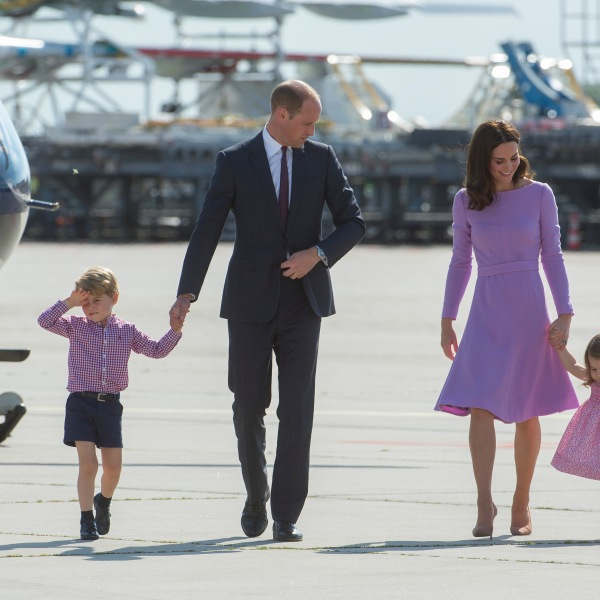 Prince William, Duke of Cambridge, Prince George of Cambridge, Princess Charlotte of Cambridge and Catherine, Duchess of Cambridge depart from Hamburg airport on the last day of their official visit to Poland and Germany on July 21, 2017. (Credit: Julian Simmonds - Pool/Getty Images)