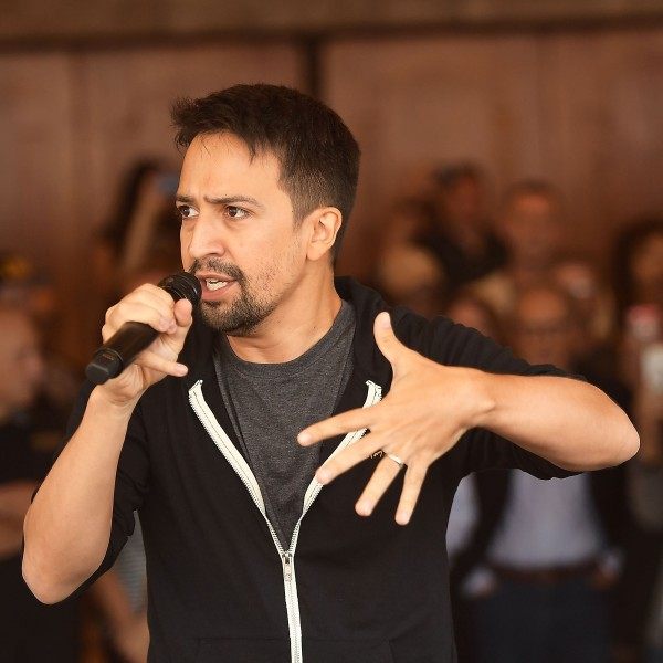 Lin-Manuel Miranda speaks outside the Pantages Theatre on August 16, 2017. (Credit: Matt Winkelmeyer/Getty Images)