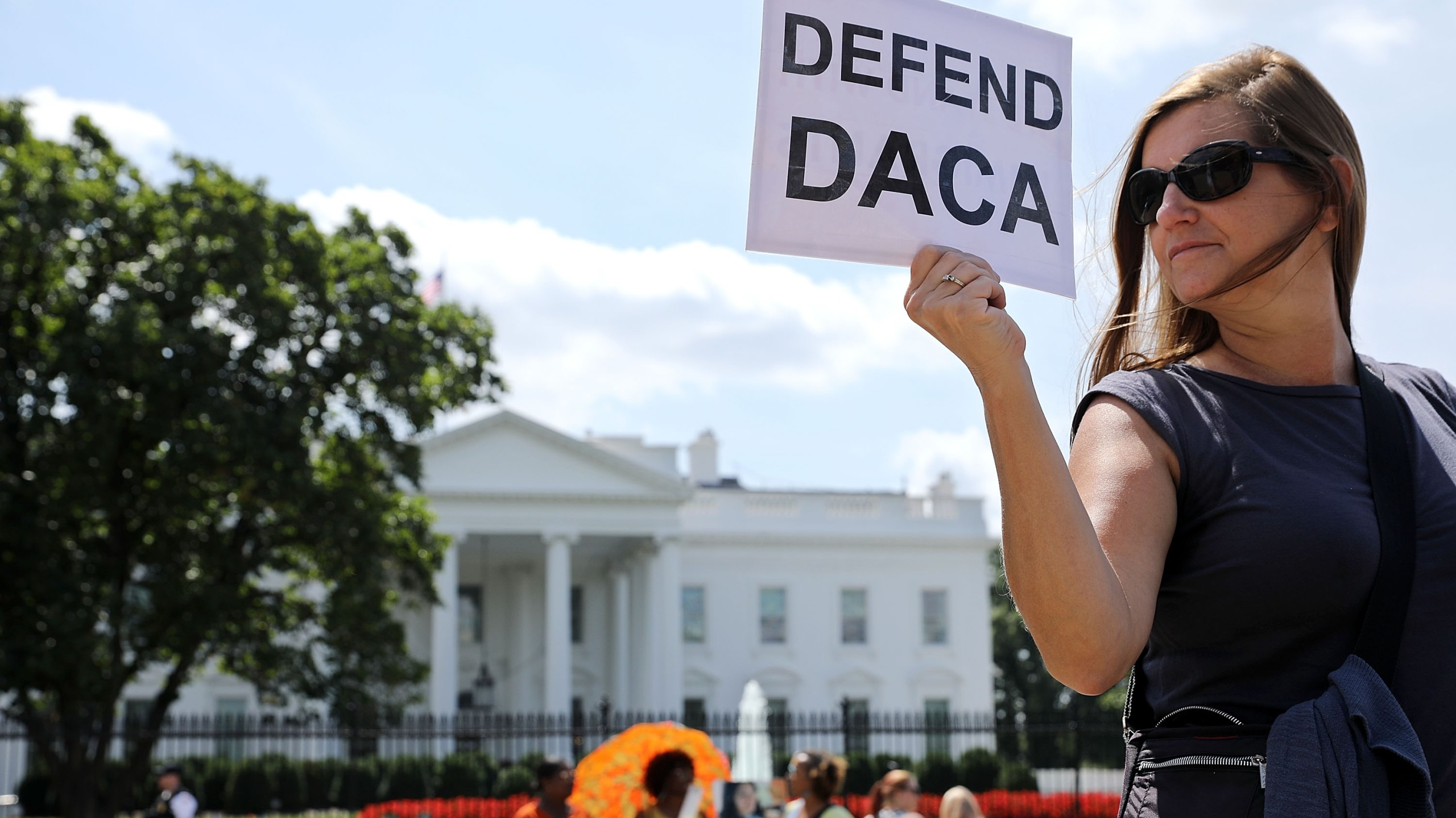 Protestors rally against the end of DACA, outside the White House, on Aug. 30, 2017. (Credit: Chip Somodevilla/Getty Images)