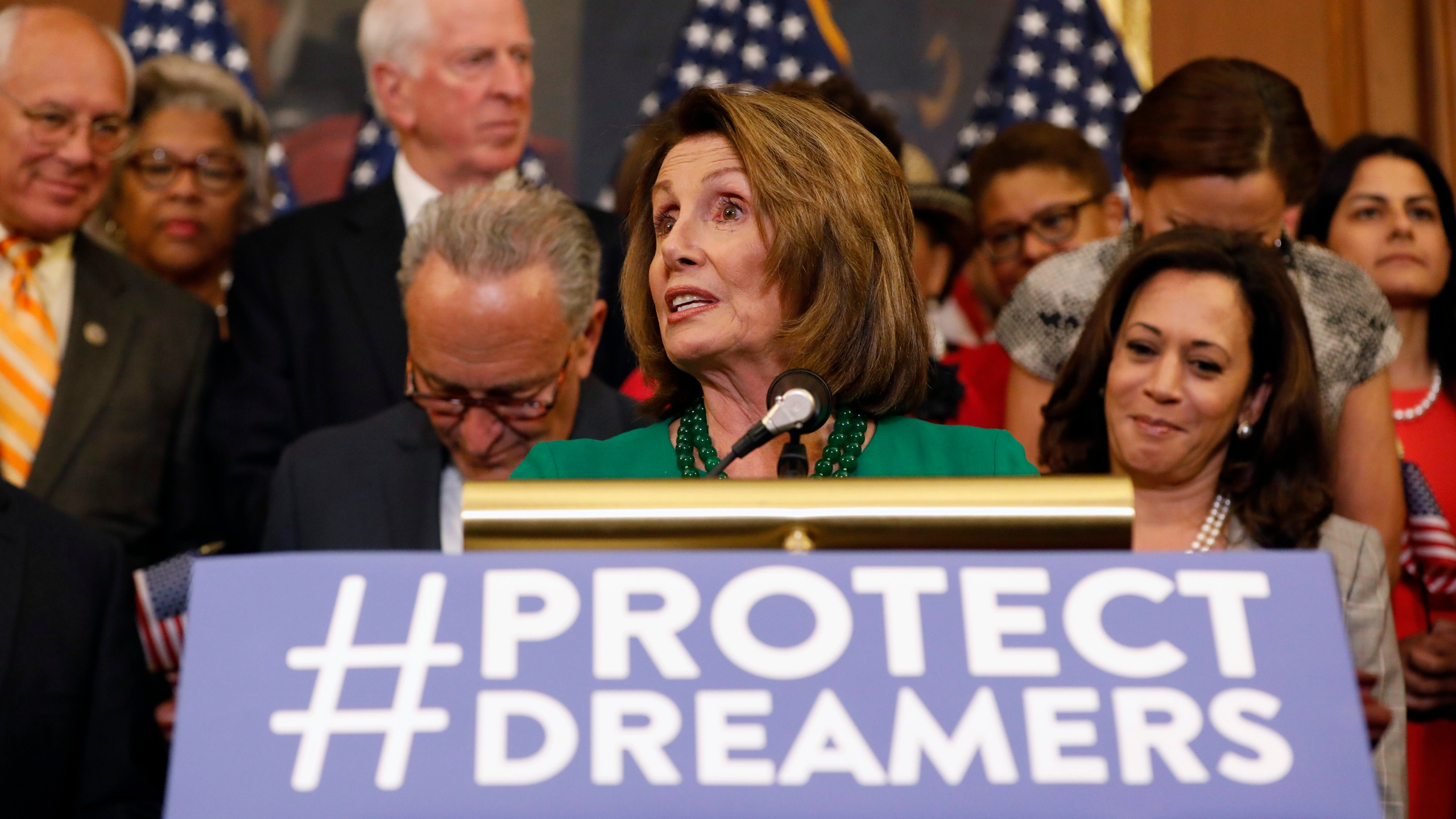 House Minority Leader Nancy Pelosi (D-CA) speaks at a news conference about President Donald Trump's decision to end the Deferred Action for Childhood Arrivals (DACA) program at the U.S. Capitol on Sept. 6, 2017. (Credit: Aaron P. Bernstein / Getty Images)