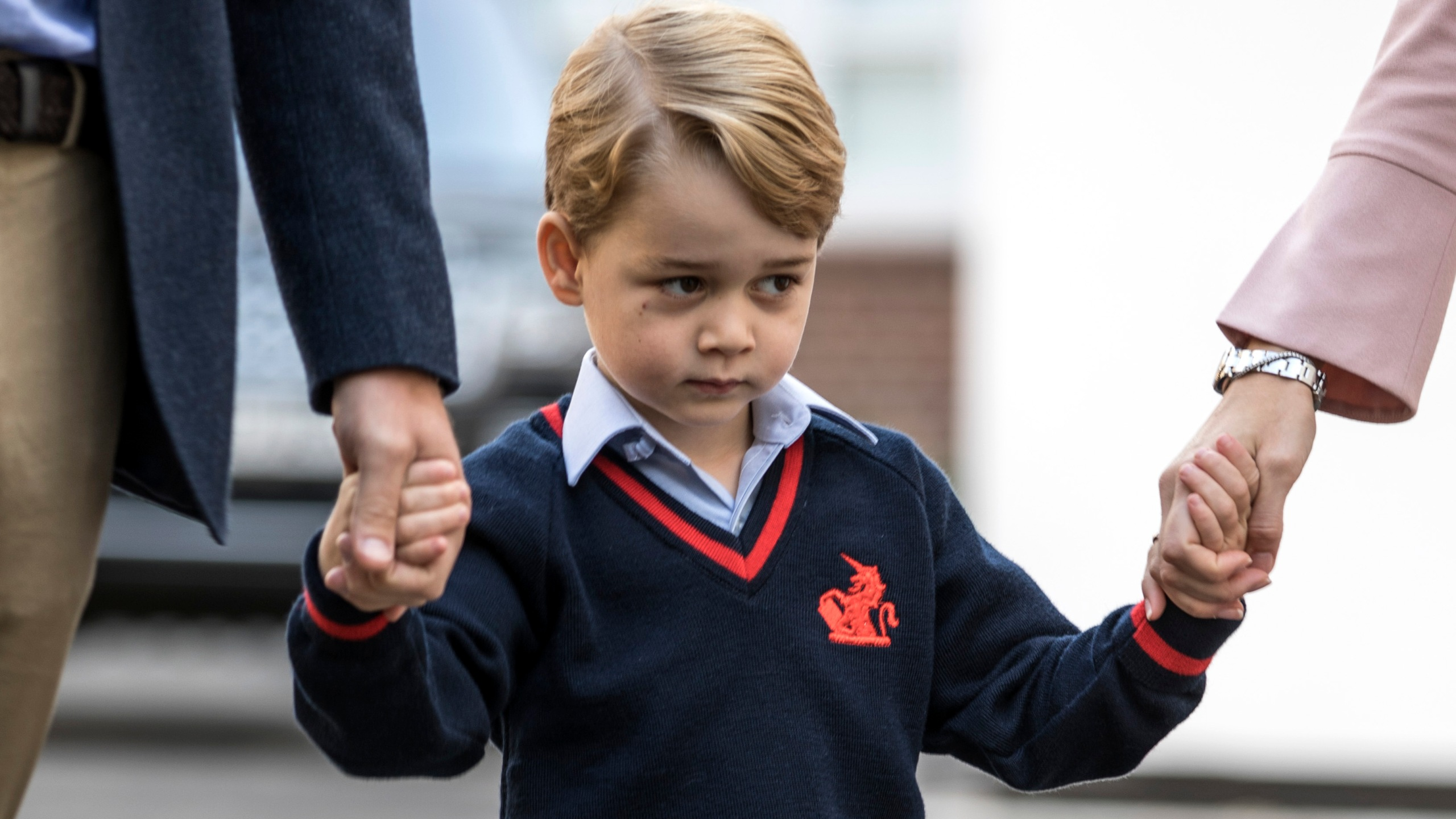 Prince George of Cambridge arrives for his first day of school at Thomas's Battersea on September 7, 2017 in London, England. (Credit: Richard Pohle - WPA Pool/Getty Images)