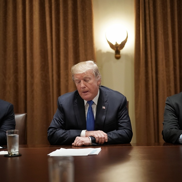 U.S. President Donald Trump meets with Democratic and Republican members of Congress in the Cabinet Room of the White House September 13, 2017 in Washington, DC. (Credit: McNamee/Getty Images)