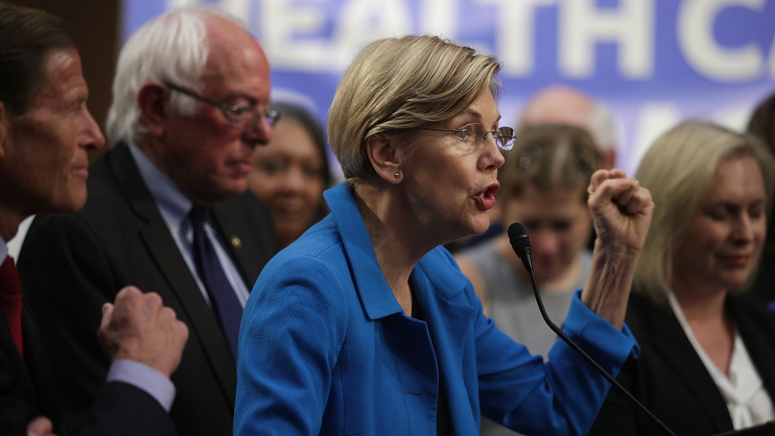 Sen. Elizabeth Warren, D-Mass., seen speaking during an event September 13, 2017 on Capitol Hill, has introduced a bill that force Equifax and its competitors to provide free credit freezing and unfreezing in the wake of the massive Equifax data breach. (Credit: Alex Wong/Getty Images)