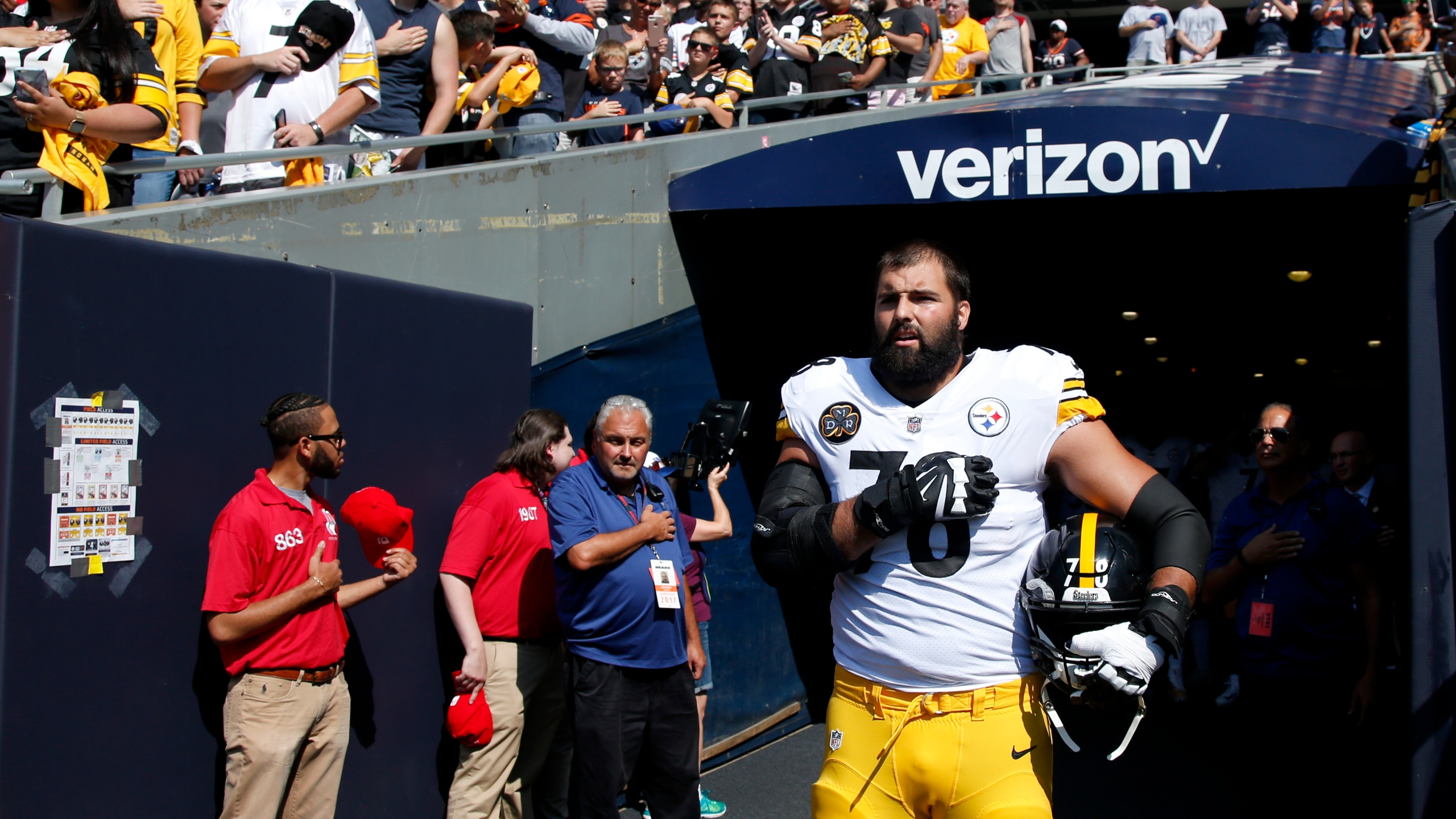 Alejandro Villanueva of the Pittsburgh Steelers stands by himself in the tunnel for the national anthem prior to the game against the Chicago Bears at Soldier Field on Sept. 24, 2017. (Credit: Joe Robbins/Getty Images)