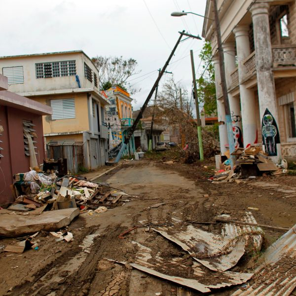 A street is left covered in debris in the aftermath of Hurricane Maria, in Arecibo, Puerto Rico, on Sept. 30, 2017.(Credit: Ricardo Arduengo/AFP/Getty Images)