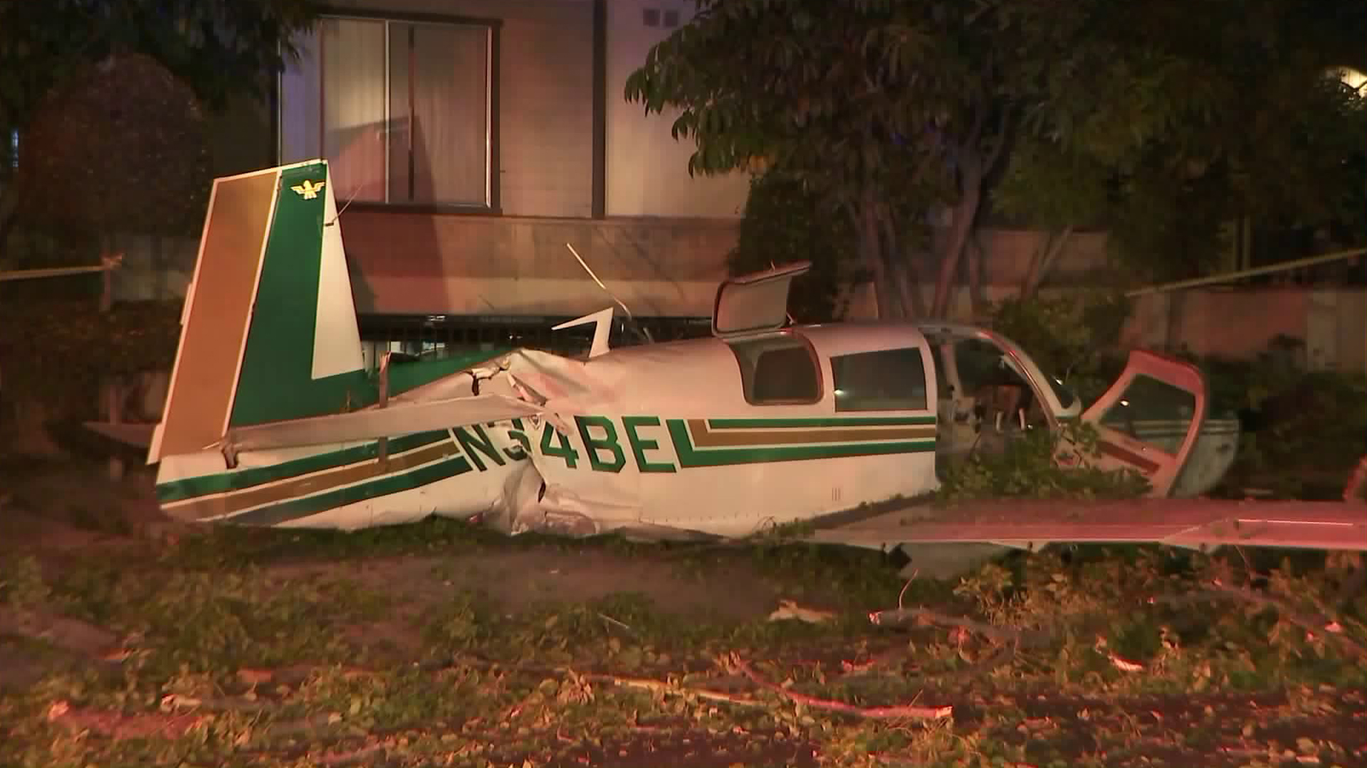 A small plane crash landed in a residential area of Glendale on Sept. 22, 2017. Its two occupants sustained only minor injuries. (Credit: KTLA)