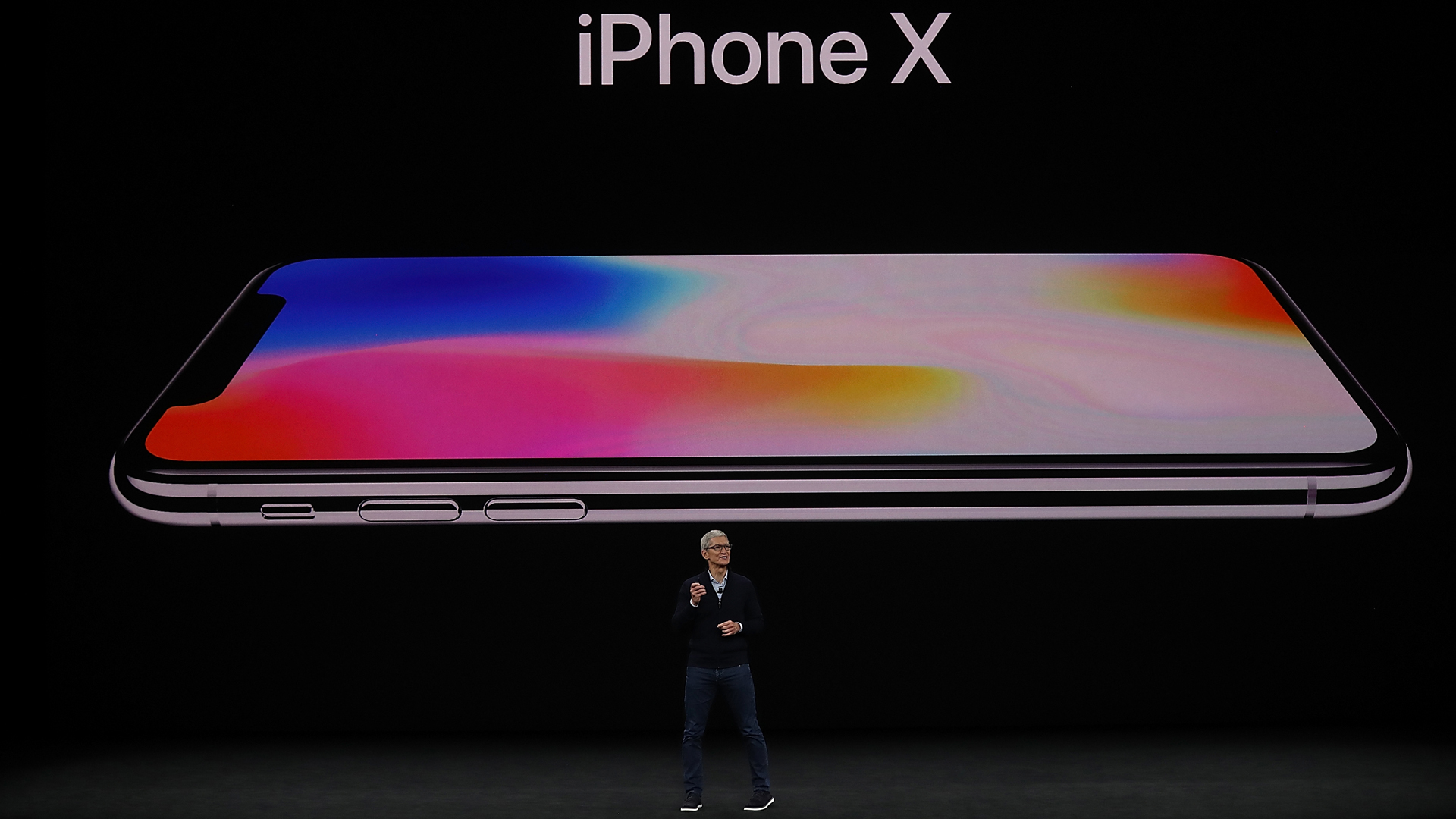 Apple CEO Tim Cook announces the new iPhone X during an Apple special event at the Steve Jobs Theatre on the Apple Park campus on Sept. 12, 2017 in Cupertino. (Credit: Justin Sullivan/Getty Images)