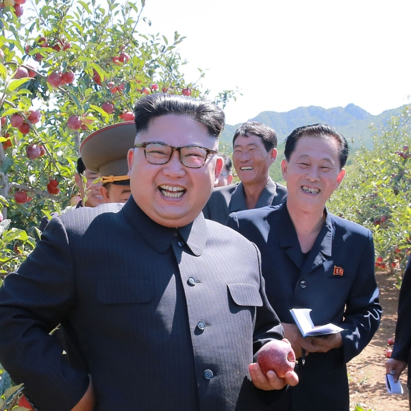 This undated picture released by North Korea's state-run news on Sept. 21, 2017 shows dictator Kim Jong-Un visiting a fruit farm. (Credit: STR/AFP/Getty Images)
