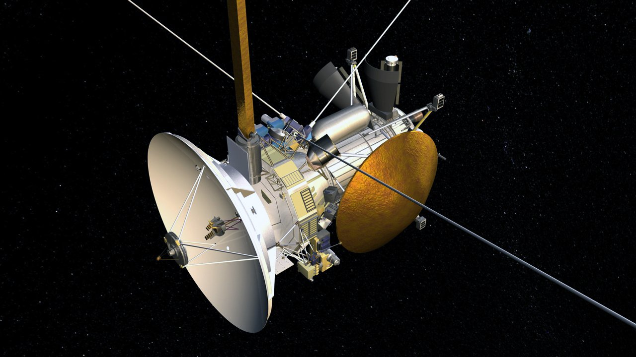 Launched in 1997 with the European Space Agency's (ESA) Huygens probe, Cassini is the first spacecraft to orbit Saturn. Among Cassini's objectives is the study of Saturn's rings, Titan's atmosphere, and the behavior of Saturn's magnetosphere. (Credit: NASA)