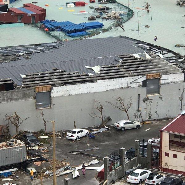 Damage from Hurricane Irma is seen here after it slammed Point Blanche, St. Martin on September 6, 2017. (Credit: Xaverius van der Hoek/WhatsApp)