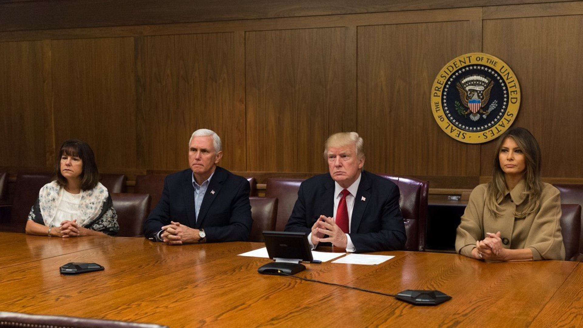 The Trumps and the Pences take part in a video teleconference with FEMA to discuss Hurricane Irma. (Credit: CNN)