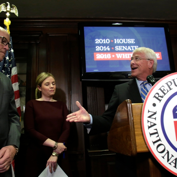 National Republican Senatorial Committee Chairman Sen. Roger Wicker, right, speaks at the RNC headquarters in Washington, DC, after Donald Trump's presidential victory, on Nov. 9, 2016. (Credit: Yuri Gripas/AFP/Getty Images)