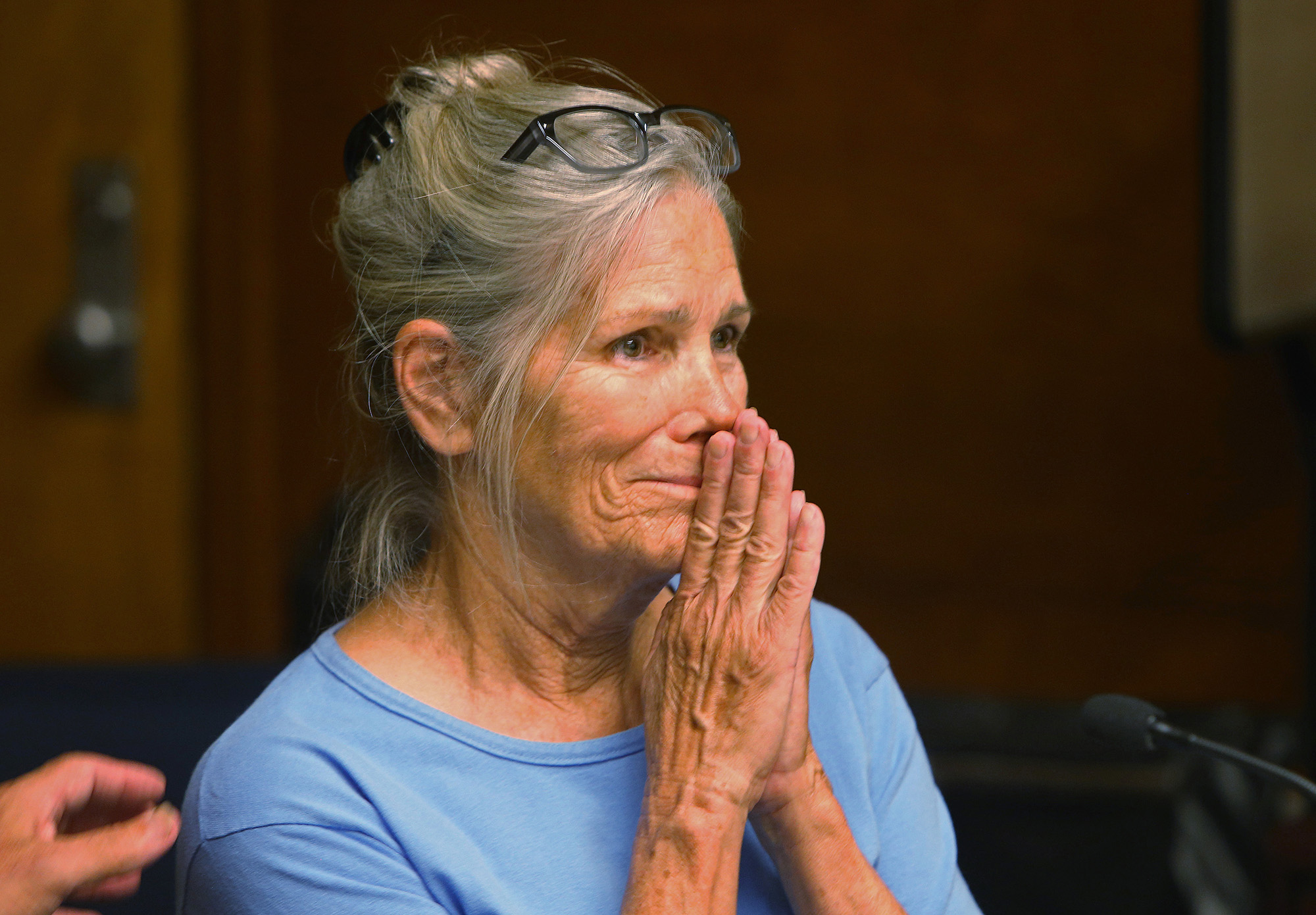 Leslie Van Houten is seen during a hearing on Sept. 6, 2017, at the California Institution for Women in Corona. (Credit: Stan Lim, Inland Valley Daily Bulletin/SCNG/pool)